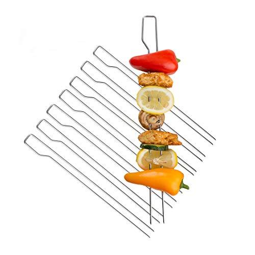 Meateor Grillspieße zum Grillen von Schaschlik, Gemüse, Obst, Geflügel, Garnelen etc, nutzbar mit jedem Grill, Doppelspieße Set enthält 8 Grillspieße aus Edelstahl
