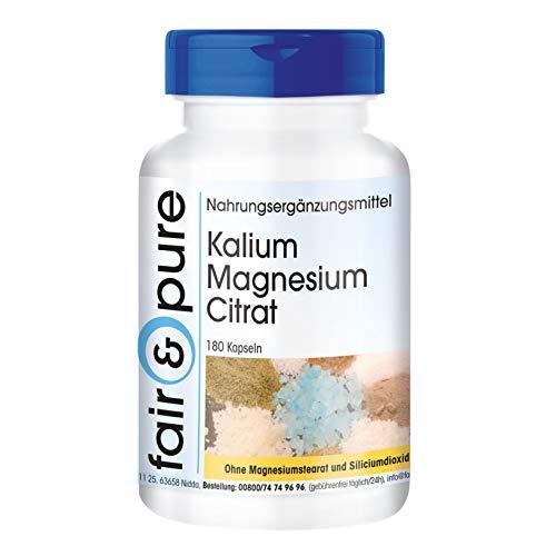 Potasio y Magnesio en Cápsulas - Citrato de Magnesio y Citrato de Potasio - Vegano - Minerales esenciales - 180 Cápsulas