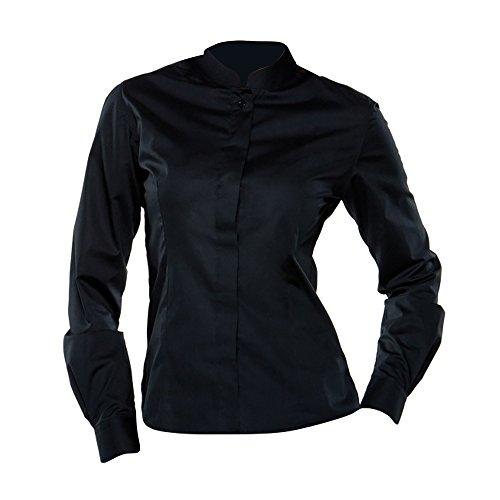 Bargear Damen Hemd / Bluse mit Stehkragen, Langarm (44 DE) (Schwarz)