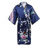 ranrann Mädchen Satin Bademantel Morgenmantel Kimono Robe mit Pfau Geduckt Langarm Kinder Nachtwäsche für SPA Party Marineblau 146-164/11-14 Jahre
