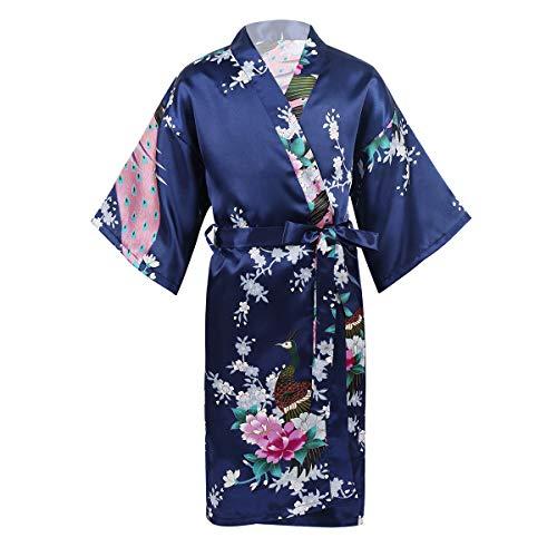 ranrann Albornoces de Satén para Niña Bata Kimono de Dormir Estampado de Pavo Real Flores Ropa Noche Verano para SPA Fiesta Sleepwear Azul Marino 11-14 Años