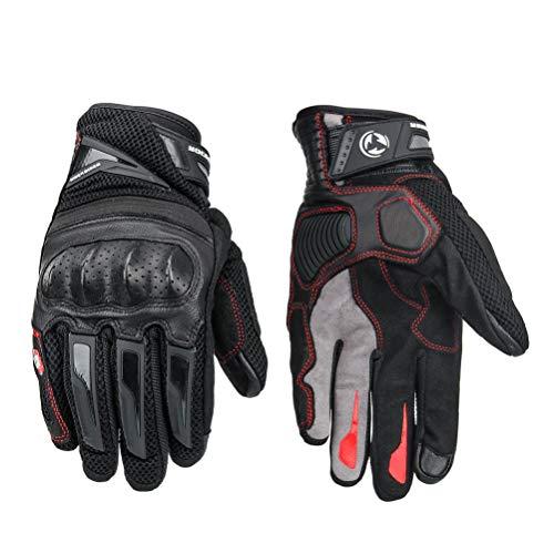 LEXIN Motorrad Handschuhe Schwarz Touchscreen Wasserdicht Handschuhe Schwarz mit Hardknuckle, Lederhandschuhe für Motorräder und Herren XL