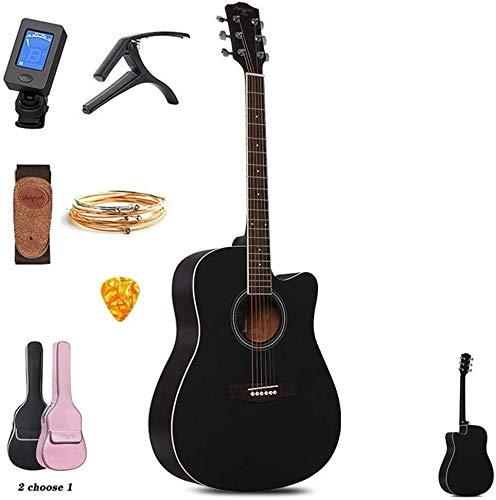 Akoestische gitaar Akoestische gitaar 41ONDER Full Size All-Wood Dreadnought Cutaway klassieke gitaar Starter Kit met Bag, E-Tuner, Strap, Steel-String jongens en meisjes gaven, 3 kleuren Full size st