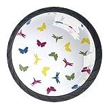 LXYDD Manijas para cajones Perillas para gabinetes Perillas Redondas Paquete de 4 para Armario, cajón, cómoda, cómoda, etc. Origami Insectos Voladores Mariposa Resumen