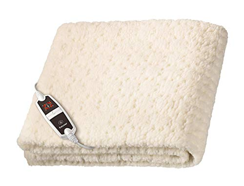 Beurer UB53 Calientacamas individual, transpirable, tacto suave, lavable, 4 potencias, display LED, apagado automático 12 horas, cama individual, 80x150cm, crema