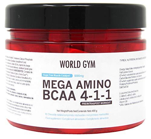 World Gym - AMINOÁCIDOS MEGA AMINO BCAA 4-1-1 MASTICABLES 5000mg