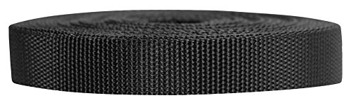 Strapworks Heavyweight Polypropylene Webbing - Heavy Duty Poly Strapping for Outdoor DIY Gear Repair, 3/4 Inch x 25 Yards, Black