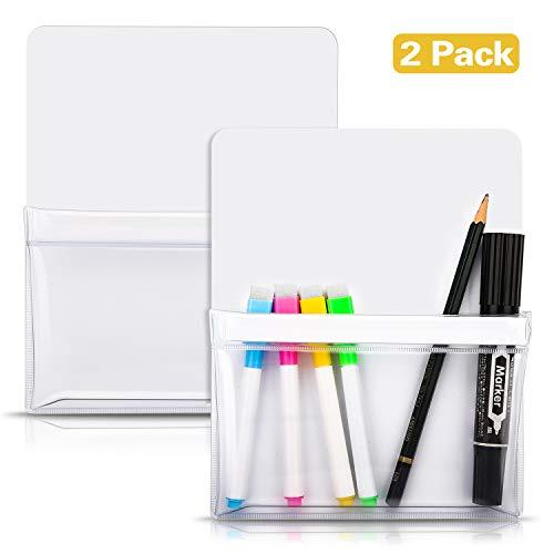 MoKo Magnetischer Stiftehalter, 2 Stück Marker Organizer für Whiteboard Magnetische Stift Halterung für Kühlschrank, Spind und andere magnetische Oberflächen - Weiß