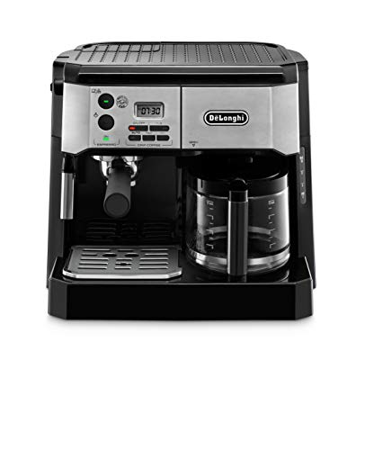 De'Longhi BCO430BM All-in- One Combination Maker & Espresso Machine + Advanced Milk Frother for Cappuccino, Latte & Macchiato + Glass Coffee Pot 10-Cup