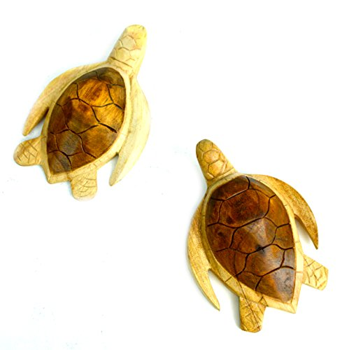 Hand Carved Wooden Set of Two Turtles Wall Plaque Carving Art