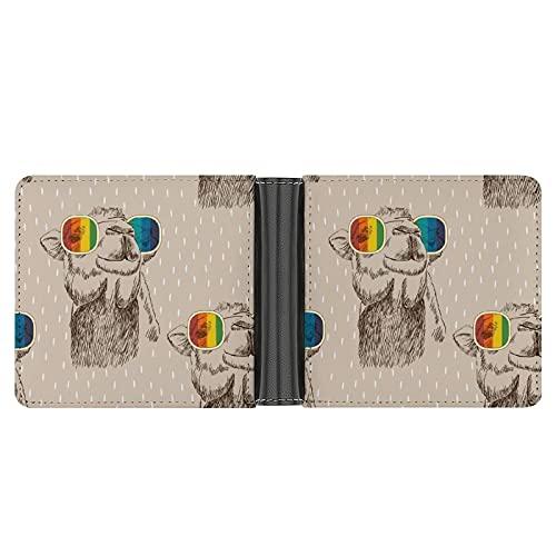 Billetera De Hombre Camello, con, Anteojos, Bosquejo Formato De Cartera Tarjetero Cartera Fina De Piel