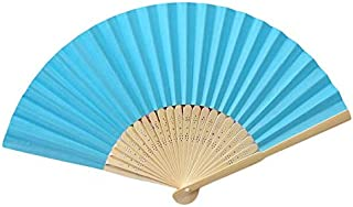 YUESHAO Abanico Plegable Verano de bambú Plegable de Mano Patrón de Abanico de Flores Plegable Danza Fiesta de Bodas Encaje Seda Plegable Mano Sólido Ventilador