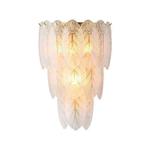 YAOLUU Lampara Pie Luz de Pared de Cristal, lámpara de Pared, Moderno Pluma lámpara de Pared Dormitorio Sala de Estar iluminación Lampara Lectura