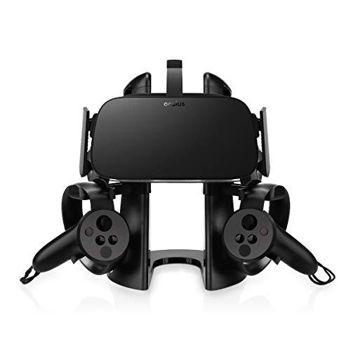 AFAITH VR Headset Ständer mit Game Controller Halter für Oculus Rift Headset (Schwarz)(VR Nicht enthalten)