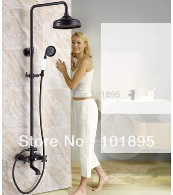Einzelhandel - Luxus Messing Regendusche Set, schwarze Duschstange, Duschsule zur Wandmontage, versandkostenfrei L15861, schwarz