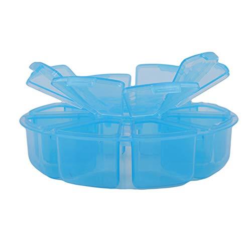 Eleusine Mini 8 Grilles Compartiment Pasl Art Strass Gemmes Boîte En Plastique Ronde Boîte Rangement Cas Perle Maquillage Organisateur Clair (Bleu)