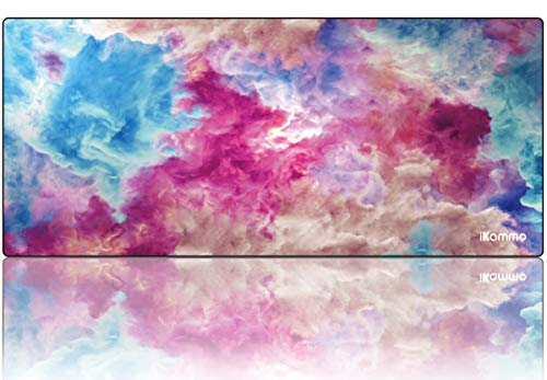iKammo Large Keyboard Desk Mouse Pad Cute Pink Clouds Mouse Pad -Textured and Waterproof Mousepads Bulk for Office Working Home Desk Computer Desk Stationery Accessories(Pink Clouds)