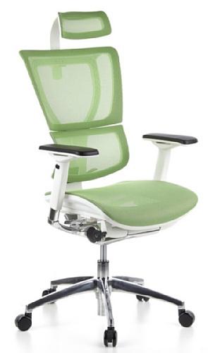 hjh OFFICE 652812 silla ejecutiva ERGOHUMAN SLIM tejido de malla verde/armazon blanco silla alta gama ergonomica
