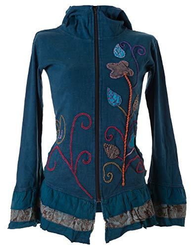 Vishes - Alternative Bekleidung - Handbestickte Blumen Sommerjacke aus Baumwolle mit Zipfelkapuze und Rüschen türkis 44