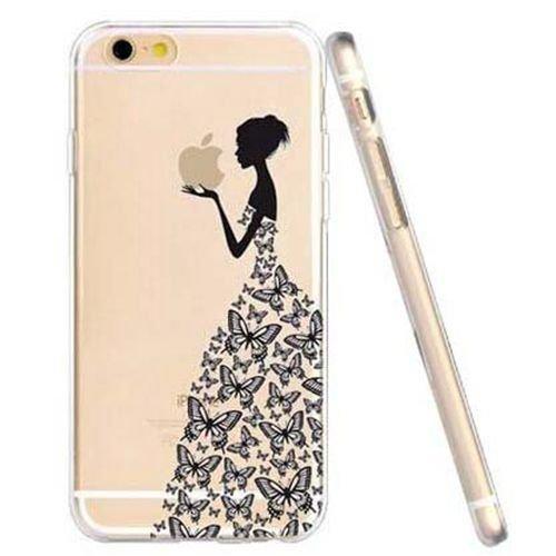 JIAXIUFEN Butterfly Girl TPU Gel Silicone Protettivo Skin Custodia Protettiva Shell Case Cover Compatibile con iPhone 6 6S