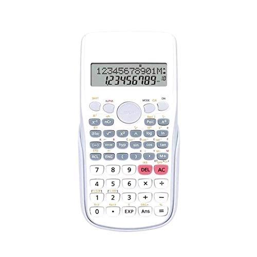 Z-Color Calcolatrice Multifunzione, ingegneria a 12 cifre/calcolatrice scientifica con Coperchio Rigido Protettivo, Batteria e Display LCD a Motore Ibrido Solare (Color : White)