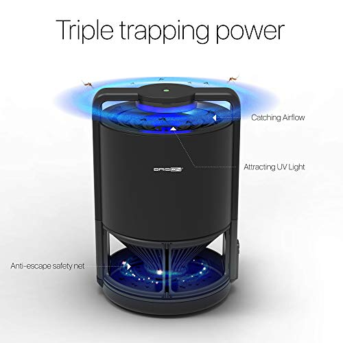 Bug Zapper Insect Trap Lamp With Intelligent UV Light Control Mosquito Killer Built-In Suction Fan Sticky Glue - Usb Powered Fruit Fly Trap Gnat & Bug Killer - Non-Toxic Eco-Friendly Child Safe