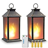 """zkee 13"""" Vintage Style Lantern,Flickering Flame Effect Tabletop Lantern(Black,Remote Timer and Batteries Included) Indoor/Outdoor Hanging Lantern,Decorative Candle Lantern (Set of 2)"""