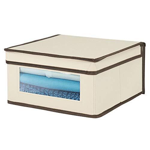 Cajas de tela medianas con ventana Ideales como organizador de armarios en dormitorios o pasillos etc gris oscuro//negro s/ábanas mDesign Juego de 4 cajas con tapa apilables para ropa