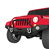LEDKINGDOMUS Full Width Front Bumper Compatible with 07-18 Jeep Wrangler JK and JK Unlimited Rock...