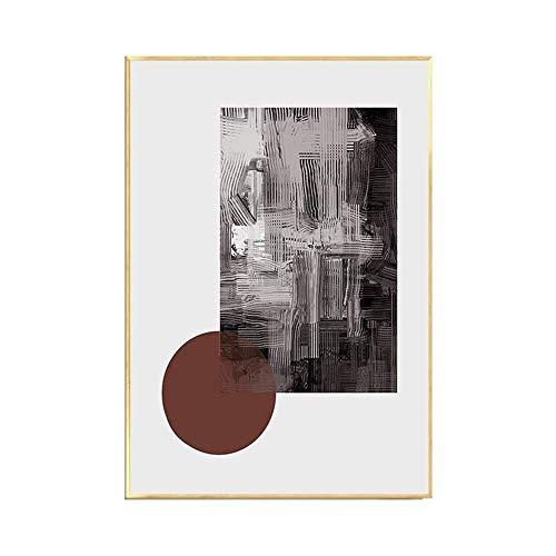 Djy-jy Nórdicos bloques geométricos abstractos de color decorativo luz pintura pinturas murales restaurante telón de fondo minimalista moderna sala de estar combinados Una versión de 40 * 60 cm arte c