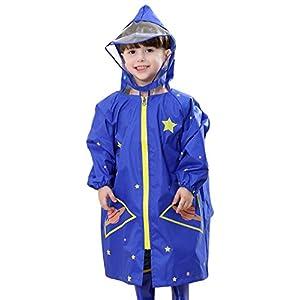レインコート ランドセル 男の子 キッズ 子ども レインウエア 通学 透明フード 入園 ブルー S