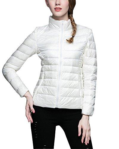 ZhuiKun Damen Daunenjacke Ultra Leicht Steppjacke Daunenmantel Winter Mantel Übergangsjacke Weiß XL