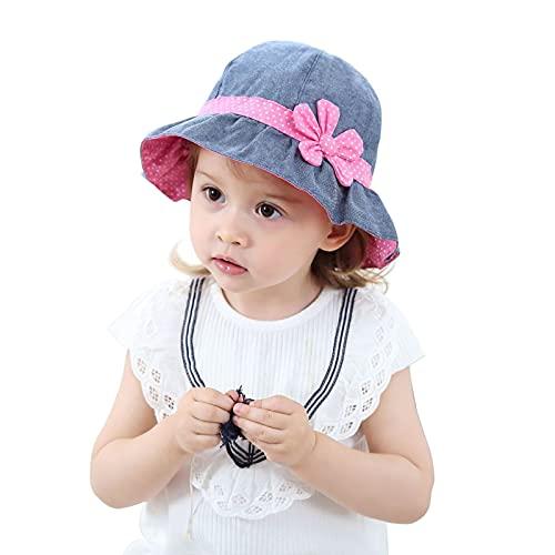 Spasuely Mädchen Sommer Sonnenhut, Sonnenhut Baby Faltbarer Fischerhut Baby MäDchen 100% Baumwolle Sonnenhut Baby Uv Schutz 50 Sommermütze Mädchen Kleinkind (Blau, 2-3T)
