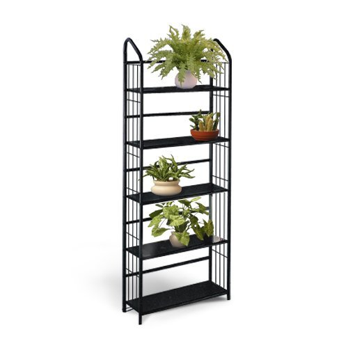 Black Metal Outdoor Patio Plant Stand 5 Tier Shelf Unit
