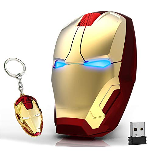 Ergonomic Wireless Mouse Cool Iron Man Mouse 2.4G Portable Mobile Computer Click Silent Mouse Optical Mice with USB Receiver, Black or Golden for Notebook PC Laptop Computer Mac Book, Add a Keychain