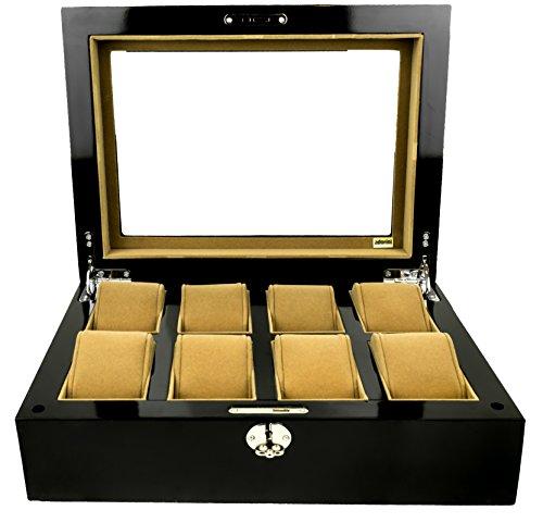 ADORINI Uhrenbox Deluxe - Vitrine für 8 Uhren, Manschettenknöpfe, Schmuck - aus Glas, mit Schloss, XXL Fach -LEBENSLANGE ADORINI GARANTIE-