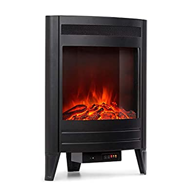 Klarstein Vienna - Electric Corner Fireplace, Electric Fireplace with Flame Effect, Switchable Heating Function, 950 or 1900 Watts, Programmable Weekly Timer, incl. Remote Control, Matte Black