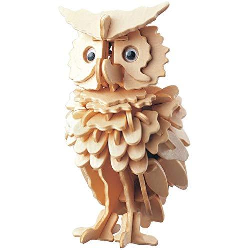 Owl Quadruple Wooden 3D-Simulationsmodell DIY Dreidimensionales Puzzle Lernspielzeug Kinder und Erwachsene Zusammenbau von Modellspielzeug