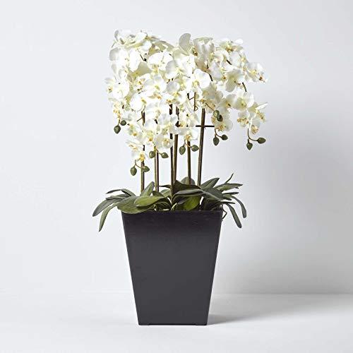Homescapes Deko Kunstblume Orchidee Creme Gesteck im schwarzen Topf Höhe ca. 70 cm Kunstpflanzen mit Topf, Künstliche Pflanzen