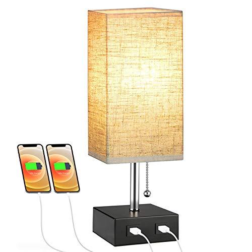 Lovebay Lámpara Noche Tela Moderna, Aplique Mesa con 2 Puertos USB e Interruptor Cadena, Lámpara Noche E27 con Pantalla para Dormitorio, Sala Estar, Oficina (Beige)