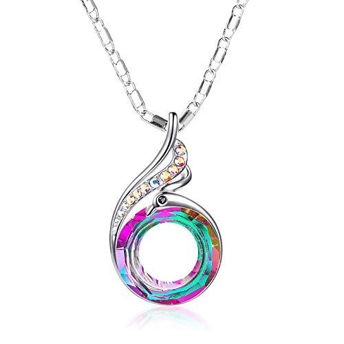 LEIYU Colorido cristal pavo real degradado colgante collar