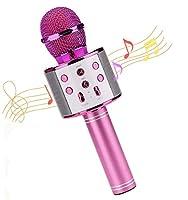 ブルートゥースマイク Bluetooth カラオケマイク 無線マイク 高音質カラオケ機器 Bluetoothで簡単に接続 音楽再生 多功能 HIFI ノイズキャンセリング 大容量1800mAh 家庭カラオケ 一人 録音可能 (バラ色)