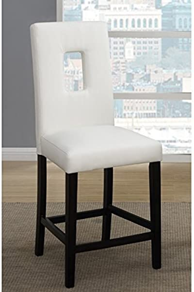 Set Of 4 Counter Height Chairs With Faux Leather And Parson Design White