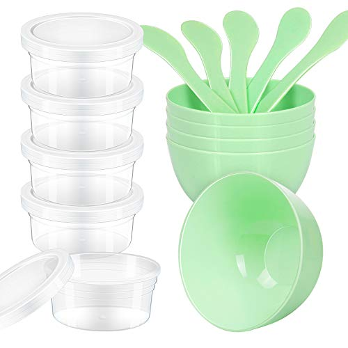 LEOBRO DIY Slime Making Tools, 5pcs Glue Mixing Bowls, 5pcs Glue Mixing Spoons, 5pcs 4.5 oz Slime Containers for Kids Slime Making Art