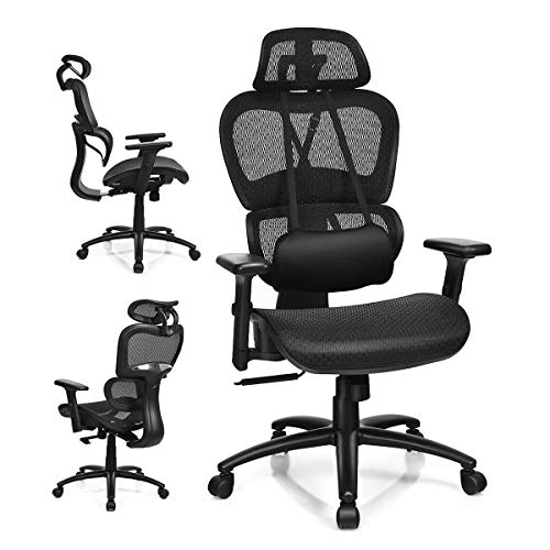 Giantex Mesh Office Chair, High Back Computer Chair w/Removable Lumbar Support, Adjustable Headrest and Armrest, Swivel Reclining Ergonomic Mesh Office Chair(Black)