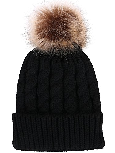 Livingston Women's Winter Soft Knit Beanie Hat with Faux Fur Pom Pom,Black