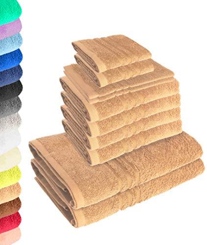 Lavea 10-teiliges Handtuchset Elena - Cappuccino, 4 x Handtuch, 2 x Duschtuch, 2 x Gästetuch, 2 x Waschhandschuh, 100% Baumwolle