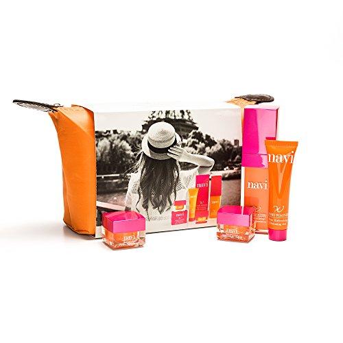 NAVI Neceser Viaje / Set de belleza & Cremas faciales mujer / Kit Hidratante & Antiedad Color Naranja