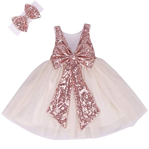 Cilucu Flower Girl Dress Baby Toddlers Sequin Dress Tutu Kids Party Dress Bridesmaid Wedding Gown Birthday Dress Rose Gold/Off White 4T-5T