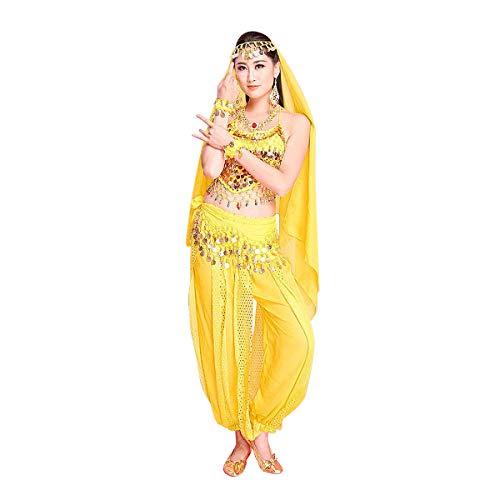 MINLIDAY Danza del Ventre in Chiffon, 7 Prezzi Set di Costume Travestimento Donna Ragazza per Danza Indiana per Carnevale, Halloween, Cosplay, Giallo